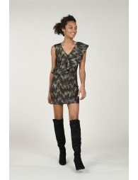 Asymetric ruffled mini dress