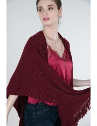 Knitted poncho and sequin