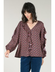 V-neck and ruffle blouse