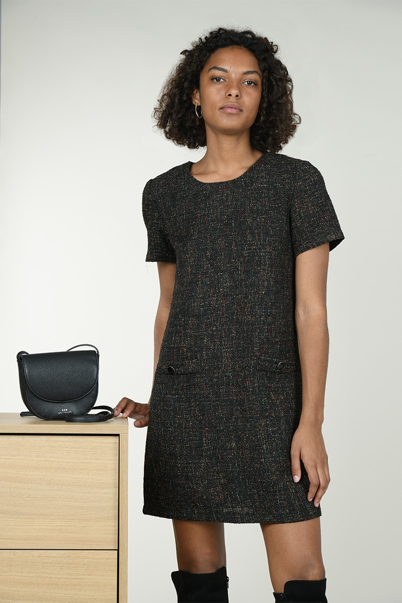 Mottled tweed dress