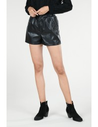 Faux leather mini short