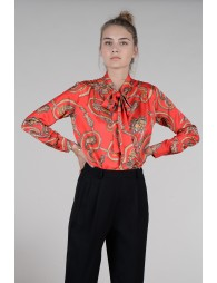 Satin blouse with volute pattern