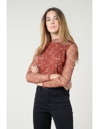 Top de manga larga con estampado floral