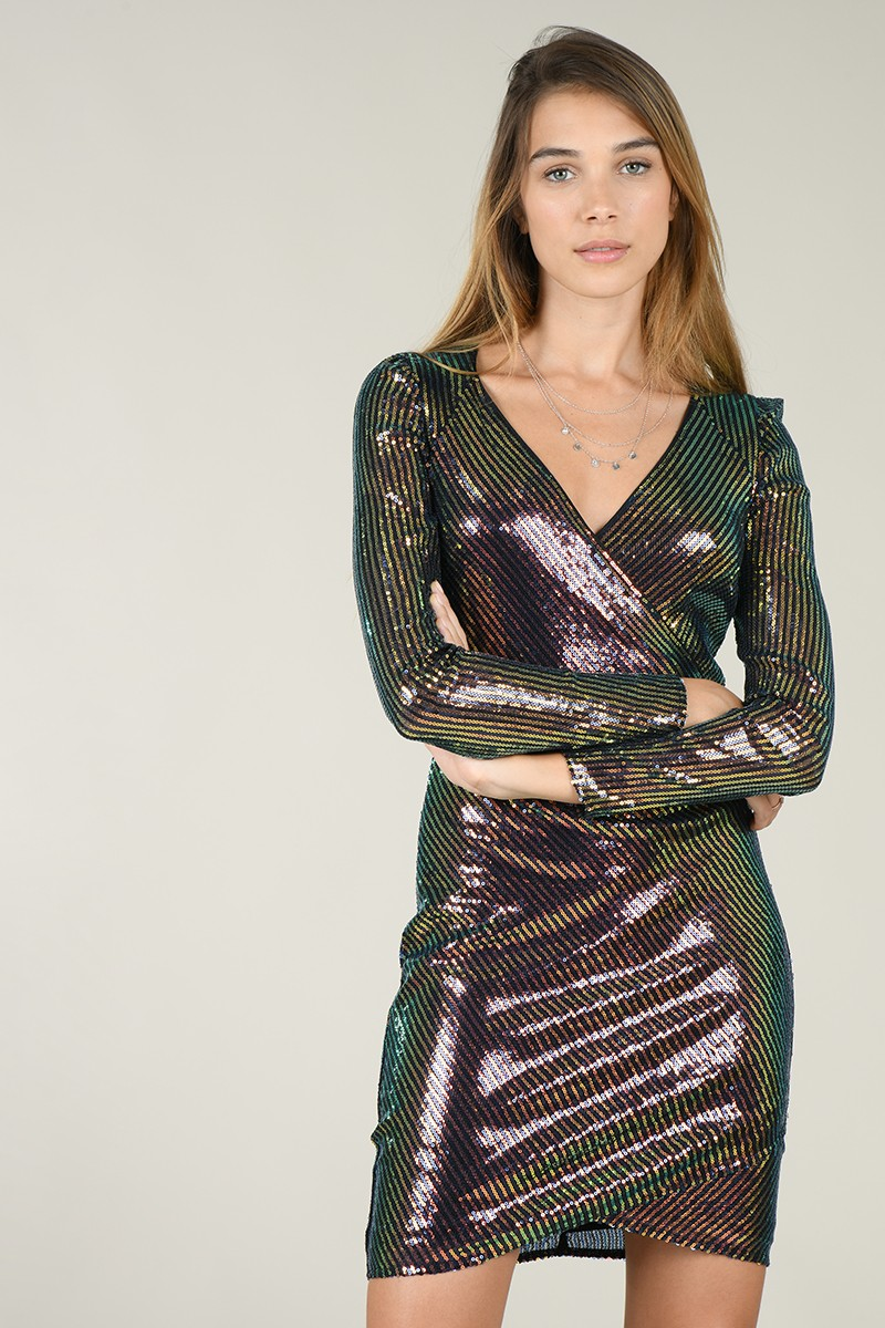 Bodycon cross sequined dress