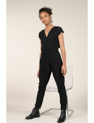 Belted crossover jumpsuit