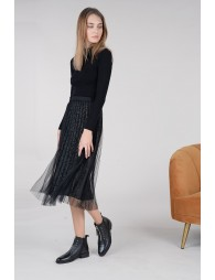 Tulle and velvet skirt