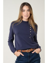 Pull col montant roulotté