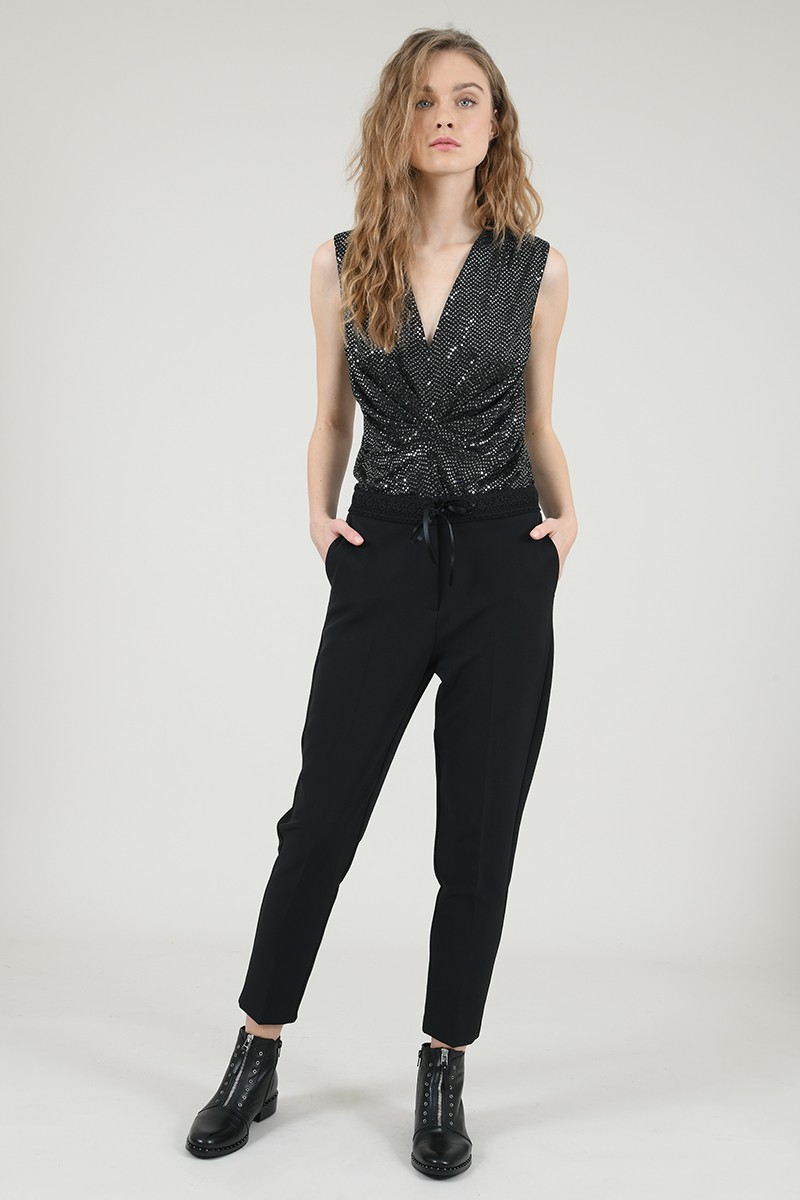 Lace waistband trousers