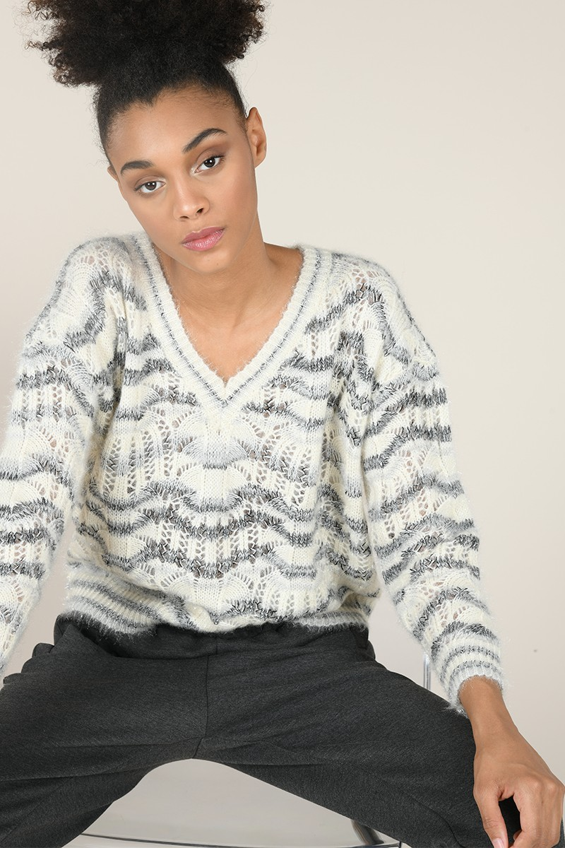 Print V neck jumper