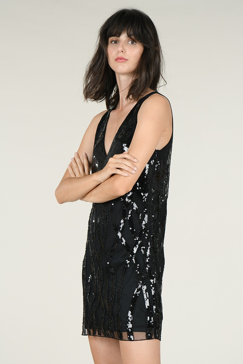 V-neck sequined dress