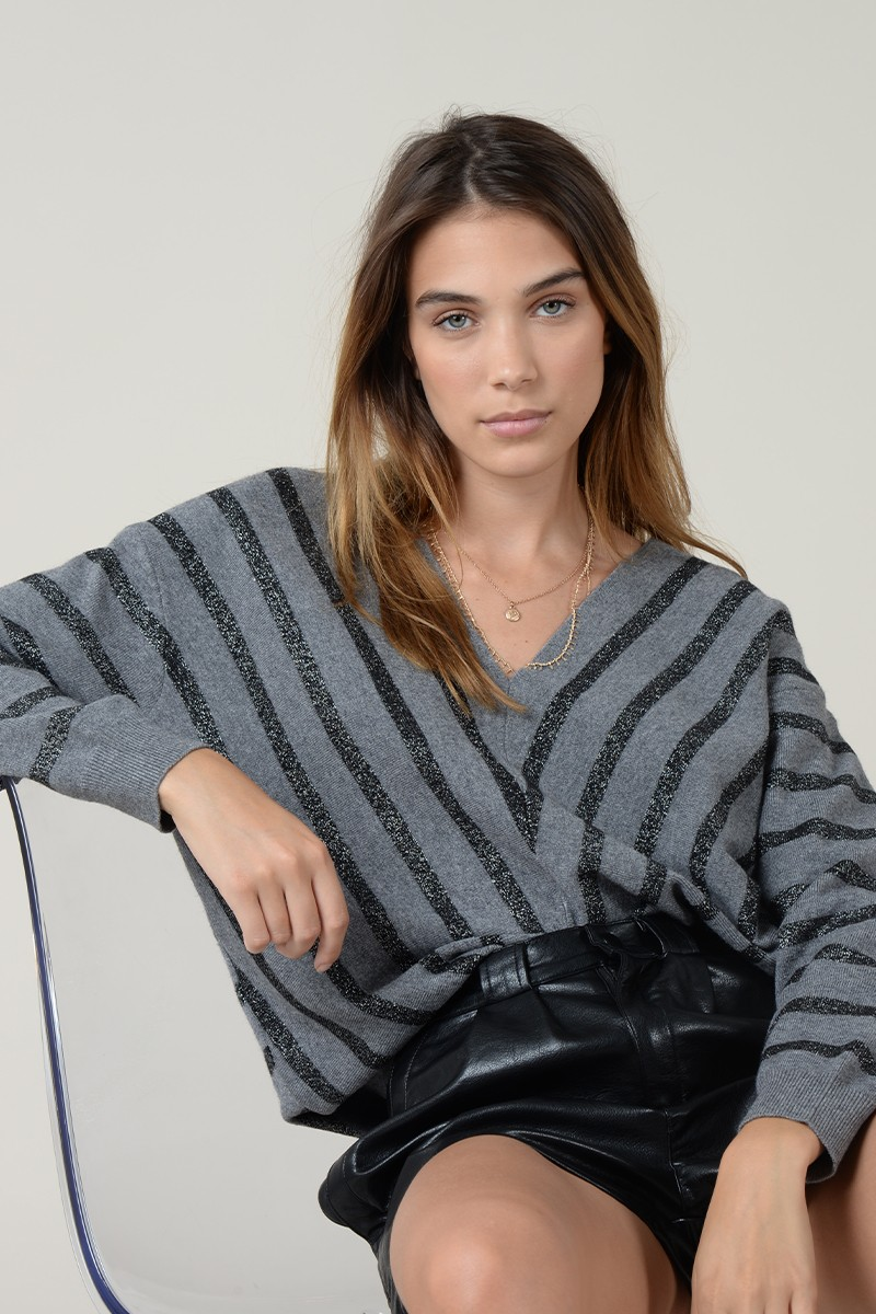 Striped V Sweater