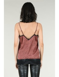 Polka dot and lace camisole
