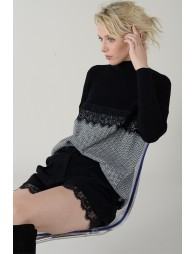 Chevron and lace sweater