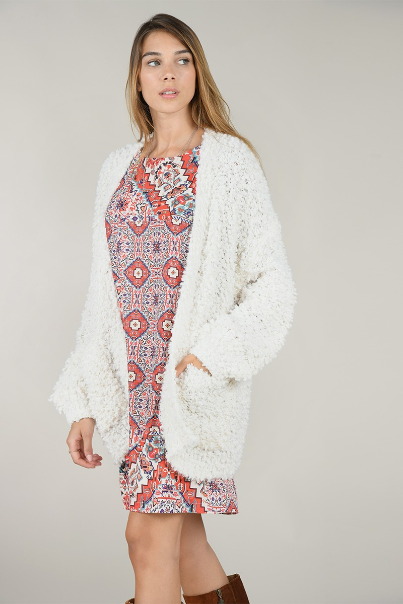 Textured knit cardigan