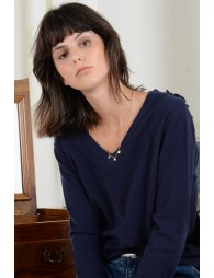 Knitted sweater, V-neck front and back