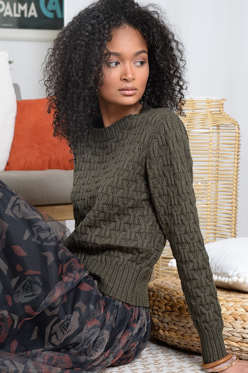 Cropped openwork knit jumper