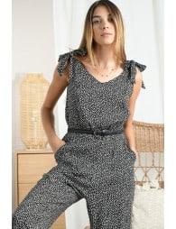Strapped print jumpsuit