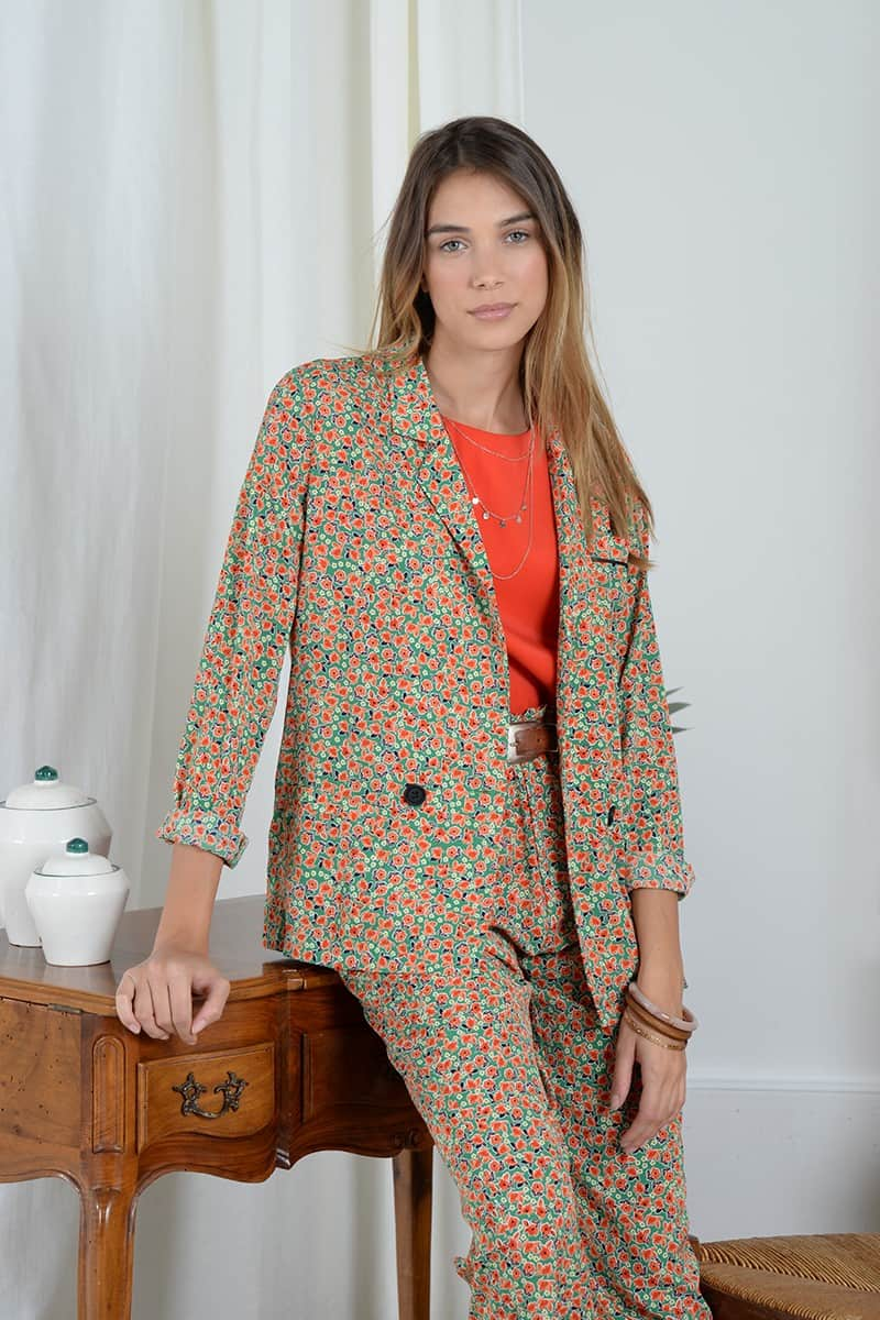 Floral print cross-over blazer