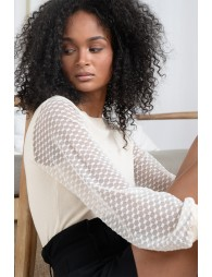 Pull col rond, manches en tulle