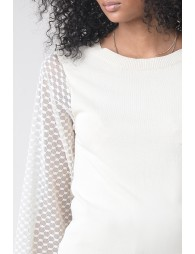Round neck jumper, tulle sleeves