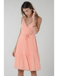 Pleated dress with thin straps