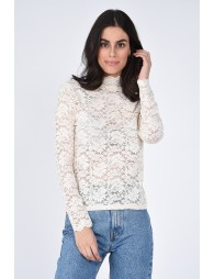 Lace Jersey High Neck Top