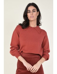 Pull col polo et manches bouffantes