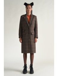 Checked simple Breasted Coat