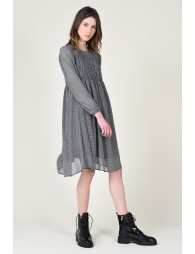 Dress with houndstooth pattern, gathered bust