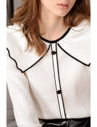 Ribbed sweater, wide collar
