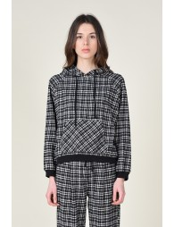 Checkered hooded sweater