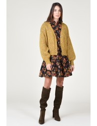 Crop cable knit cardigan