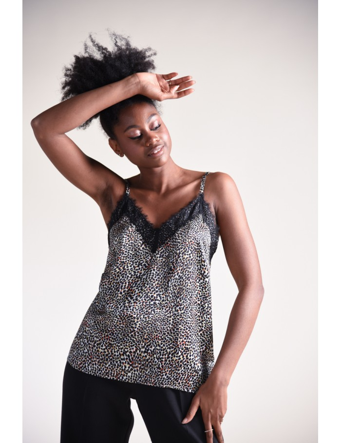 Panther printed velvet camisole