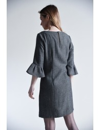 Ruffled 3/4 sleeves fitted dress