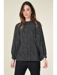 Gathered stand collar blouse