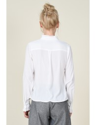 Stand neck with gathered trim shirt