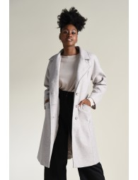 Belted notch collar coat