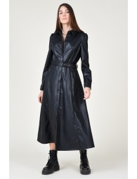Shirt dress in faux leather