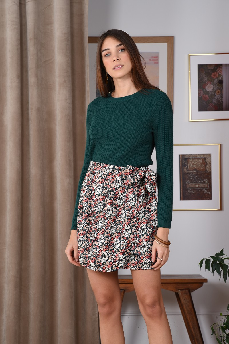 Floral mini wrapped skirt