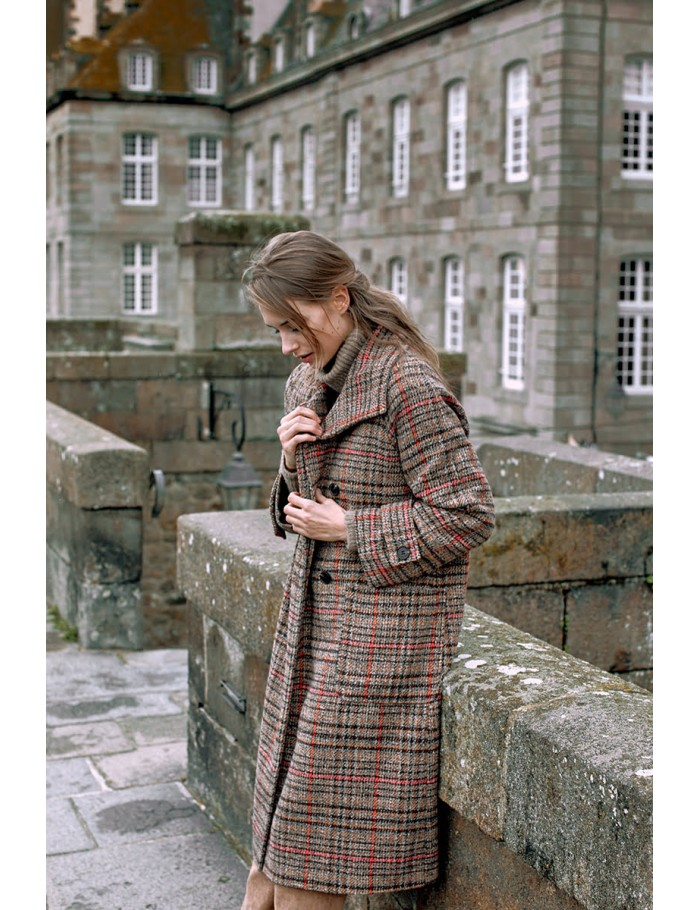 Plaid Double Breasted Over Coat