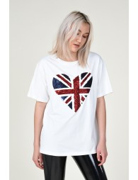 Sequined heart pattern Tee