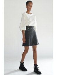 Knitted contrast stitching skirt